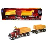 New 1:32 PETERBILT MODEL 379 DOUBLE DUMP TRUCK & Trailer SS-10573A Diecast Model By NEW RAY TOYS by New Ray