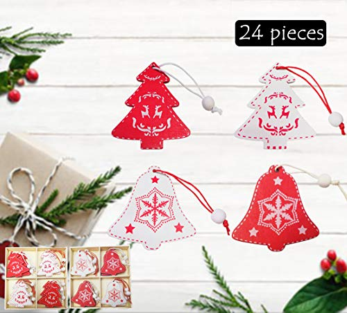 Christmas Tree Ornaments Kit - 24 Pieces, Red White Bell and Xmas Tree Ornaments - Wood Craft Christmas Decoration Pendant Set - Gift Tags, Hanging for Christmas Tree New Year Holiday Party Decor