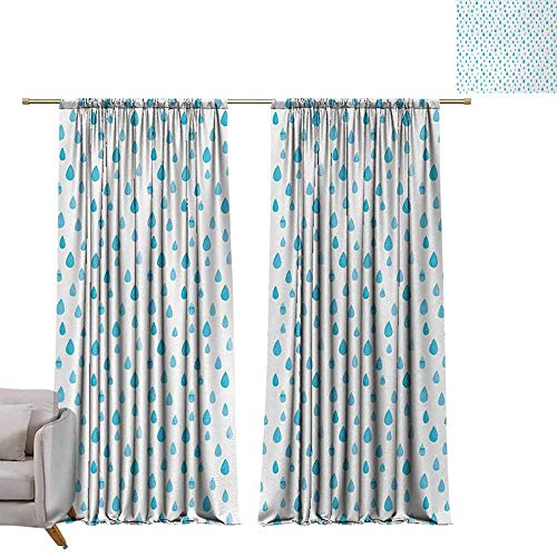 DUCKIL Simple Curtain Blue and White Watercolor Drip Drops Pattern in Various Sizes Terrain Humidity Zone Sign Durable W96 xL72 Blue White