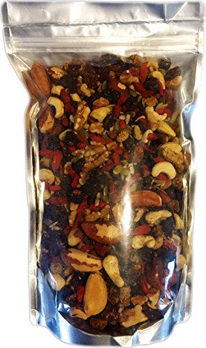 Raw Superfoods Trail Mix - The Works (Goji Berries, Golden Berries, Mulberries, Raisins, Brazil Nuts, Cashews, Walnuts, Pumpkin and Sunflower Seeds) 24 oz (Raw Nuts Mix compare prices)