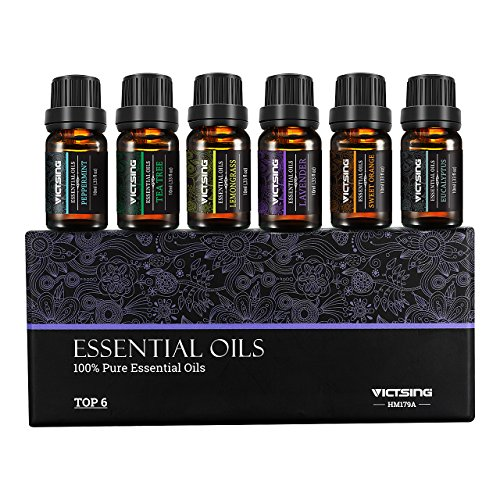 VicTsing Set of 6 Aromatherapy Essential Oils, Pure Therapeutic Grade, Essential Oil Set for Women and Men(Orange, Lavender, Tea Tree, Lemongrass, Eucalyptus, Peppermint, 10ml/bottle)