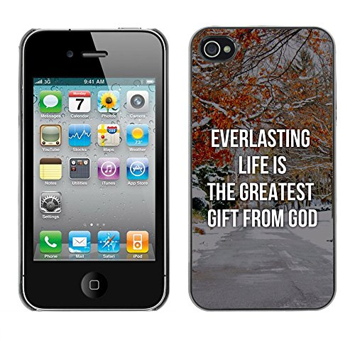 DREAMCASE Citation de Bible Coque de Protection Image Rigide Etui solide Housse T¨¦l¨¦phone Case Pour APPLE IPHONE 4 / 4S - EVERLASTING LIFE IS THE GREATEST GIFT FROM GOD
