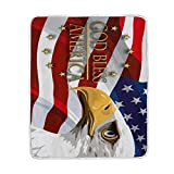 ALAZA God Bless America Eagles Crystal Velvet Throw Blanket Bed 50 x 60 inch Kids Baby Girls Colorful Painting Couch Blanket Throw Decor