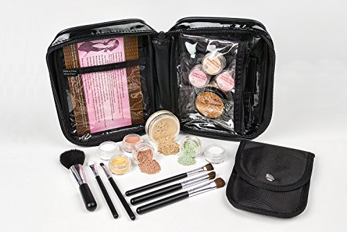 15 pc STARTER KIT w/BRUSHES & CASE (LIGHT) Mineral Makeup Foundation Blush Bronzer Illuminating Veil Set Bare Skin Matte Powder ()