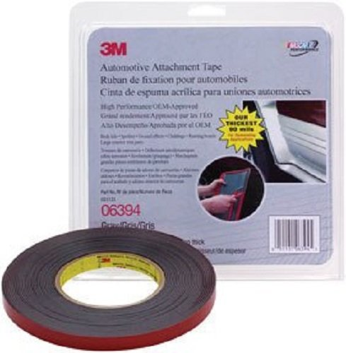 3M 06394 Acrylic Automotive Attachment Adhesive Tape, 90 mil Thick, 10 yds Length x 1/2