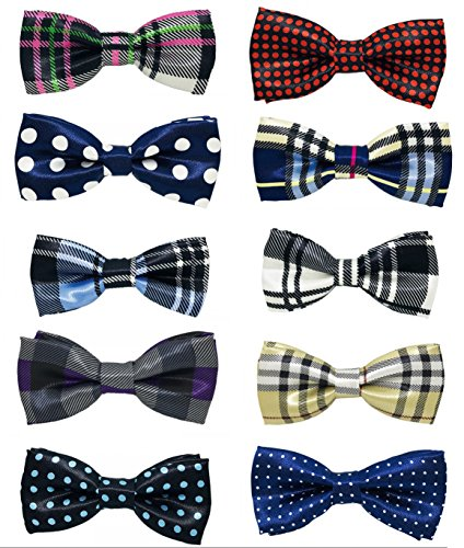 PET SHOW Pet Small Dogs Collar Attachment Bow Ties Puppies Cats Collar Charms Accessories Slides Bowties for Birthday Wedding Parties Assorted A Style Assorted Plaid Dot Styles Pack of 10 ()