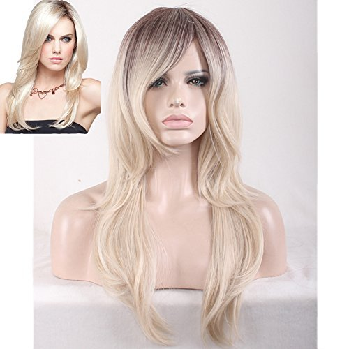 BERON 24'' Long Wavy Dark Roots Ombre Blonde Sythentic Full Wigs with Wig Cap and Comb (Brown Ombre Light Blonde)