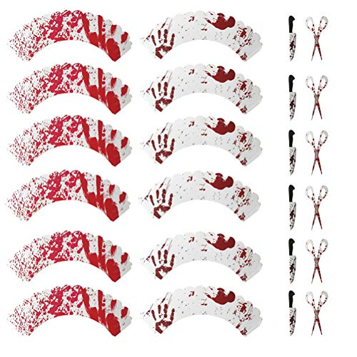 Toyvian 72pcs/3 Sets Horrible Blood Handprints Patterns Paper Cake Wrappers Baking Decoration Wraps for Halloween Party and Scissors Knifes Pattern Cake Toppers (As -
