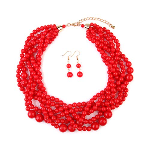 MYS Collection Women's Braided Beaded Bubble Statement Necklace - Multi Strand Colorful Bead Layered Collar Necklace (Red)