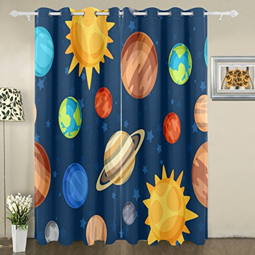 My Little Nest Cartoon Space Cute Solar System Planets Blackout Window Curtains Grommet Top Thermal Insulated Room Darkening Drape for Bedroom Living Room 55W x 84L Inch, 2 Panels by My Little Nest