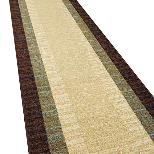 Custom Cut 31-inch Wide by 20-feet Long Runner, Brown Teal Bordered Non Slip, Non-Skid, Rubber Backed Stair, Hallway, Kitchen, Carpet Runner Rug - Choose Your Width by Length