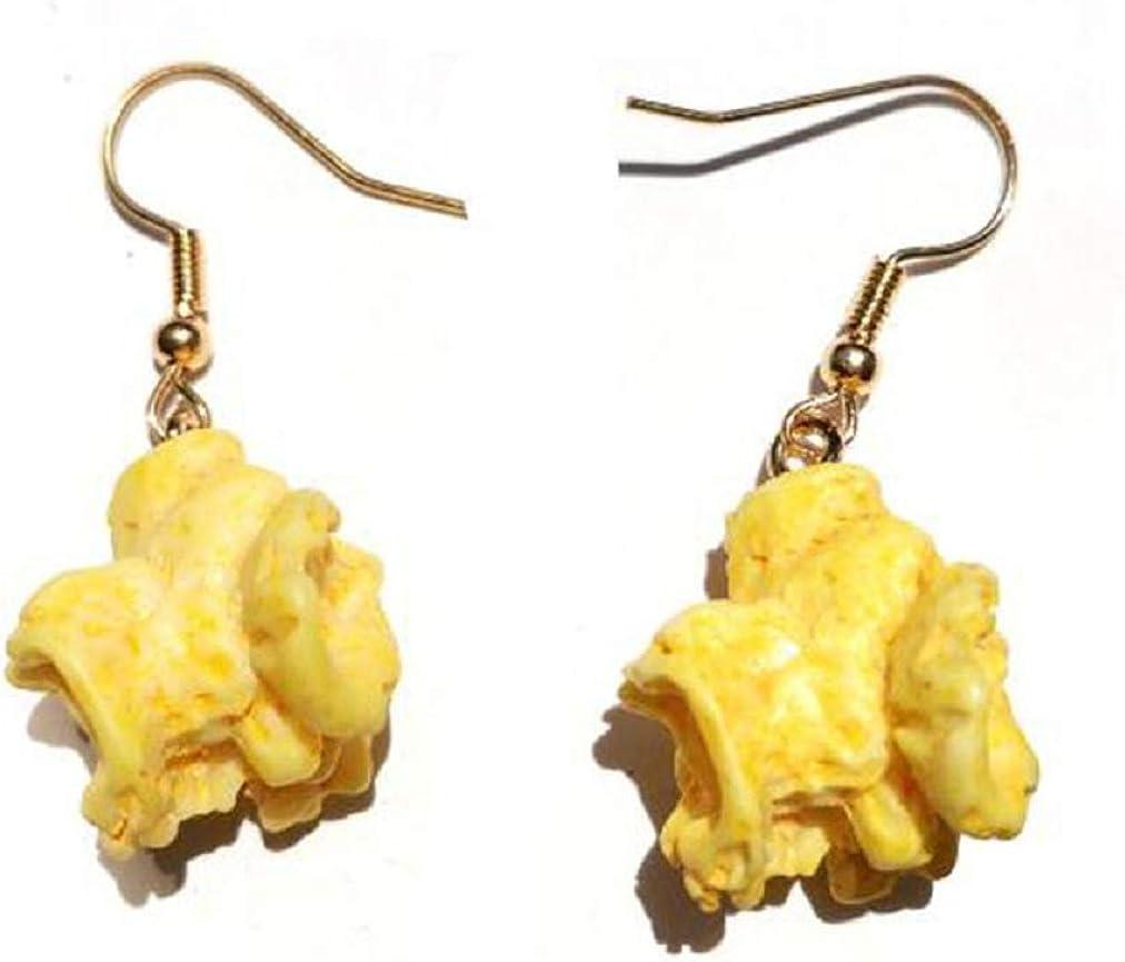 2 pairs Funny Popcorn Fried Chicken Food Drop Earrings For Women Girl DIY Handmade Creative Unique Dangle Earrings Jewelry
