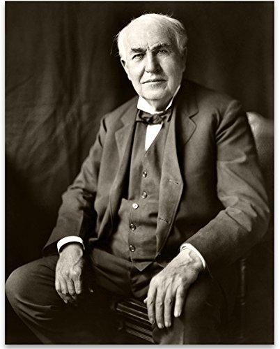 Lone Star Art Thomas Edison Portrait - 11x14 Unframed Print - Great Gift for Inventors
