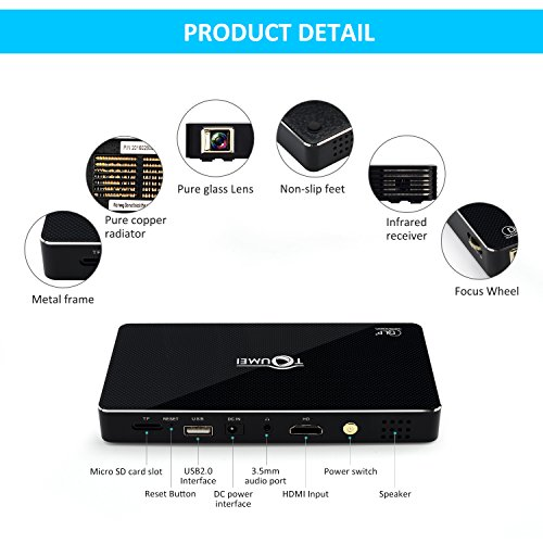 Free shipping mini portable videoprojector support 1080p for Bluetooth projector for iphone