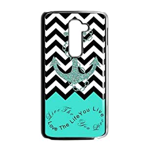 Live the Life You Love, Love the Life You Live. Turquoise Black and White Chevron with Anchor LG G2 Fit for AT&T PVC Case/Cover New Fashion, Best Gift