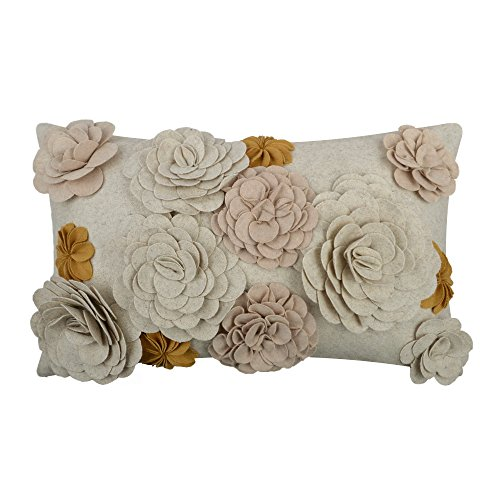 King Rose 3D Stereo Floral Solid Wool Cushion Cover for Sofa Bed Living Room 12 x 20 Inches