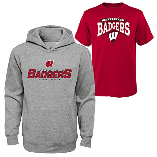 Outerstuff NCAA Youth Boys 8-20 Wisconsin Tee & hood Set, L(14-16), Assorted from NCAA by Outerstuff
