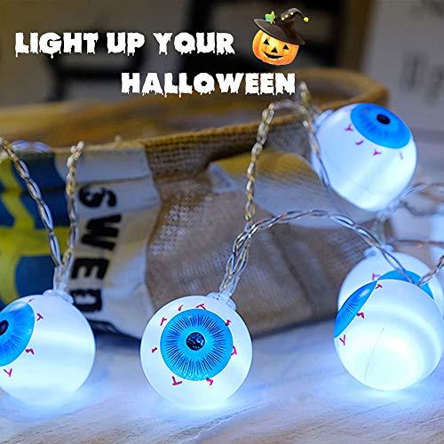 Y-BOX Halloween Eyeball String Light 10 LED Battery Powered Steady/Flickering Lights Eyeball String Lights Hanging Indoor/Outdoor String Light for Backyard, Bistro, Pergola, Cafe (White,1.2 -