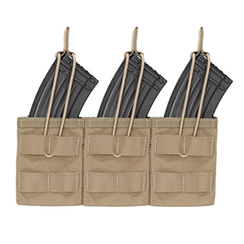 Warrior Assault Systems Bungee Retention Triple MOLLE Open AK 7.62mm Mag Pouch (3 Magazine), Coyote Tan (Warrior Assault Systems Low Profile Chest Rig)