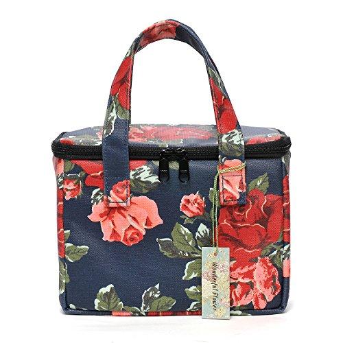 WONDERFUL FLOWER Lunch Box Cooler Bag lunch bag flower (20 Navy Red)