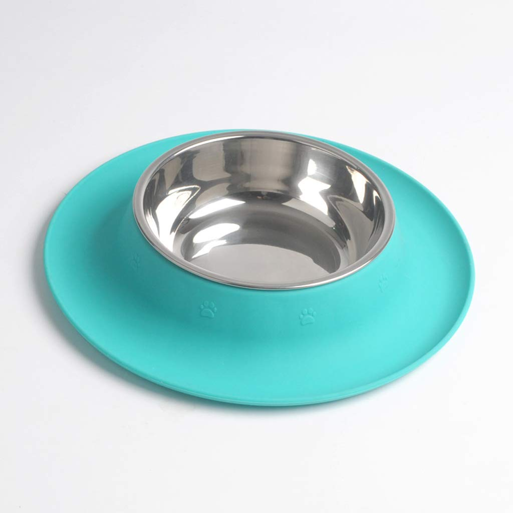 bluee MXD Pet Supplies Dog Pot Dog Bowl Dog Food Bowl Silica Gel Stainless Steel Single Bowl (color   bluee)
