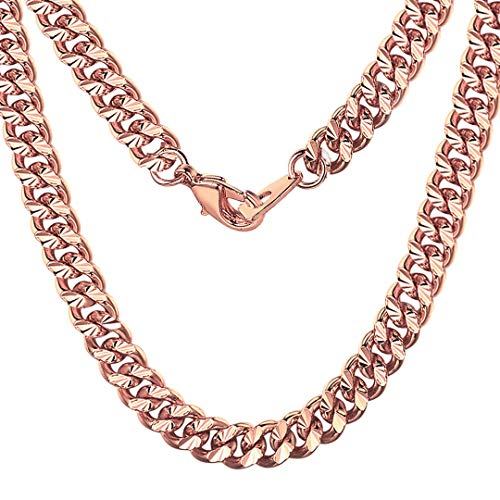 ChainsHouse Rose Gold Plated Link Curb Chain 7MM Wide Cuban Chain Necklace for Men Women, Boys Girls Jewelry, 18