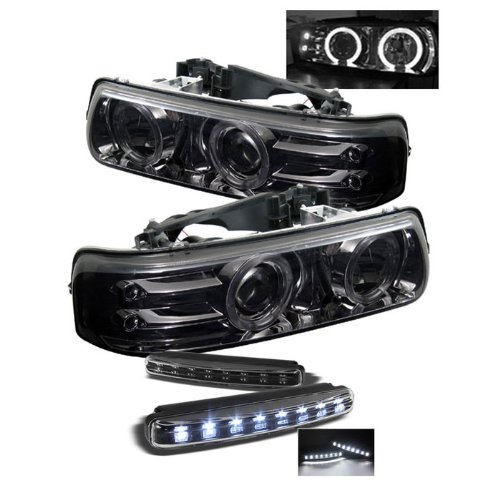 Chevy Silverado 1500/2500 / Chevy Silverado 3500 / Chevy Suburban 1500/2500 / Chevy Tahoe Projector Headlights LED Halo LED Light Smoke Lens With Chrome Housing (Halo Headlights 1993 Chevy compare prices)