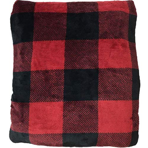 The Big One Oversized Plush Throw (Red Buffalo Check) - 5ft x 6ft Super Soft and Cozy Micro-Fleece Blanket for Couch or Bedroom
