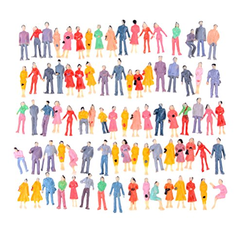 (Dengguoli 100 Pcs 1:100 Scale Tiny People Figures, Painted Coloful Human Model Toys)