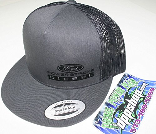 e9abf03eb7566 ford powerstroke trucker Flat bill ball cap hat snap back mesh black diesel  gear dark gray