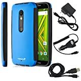 Fosmon Case and Charger Bundle Pack for Motorola Moto X Play/ DROID MAXX 2: HYBO-SNAP Body Protection Hybrid Case with Built-In Screen Protector + Micro USB Combo Pack (Travel Charger, Car Charger, and Data Cable) for Motorola Moto X Play/ DROID MAXX 2 - Black (TPU) / Blue (PC)