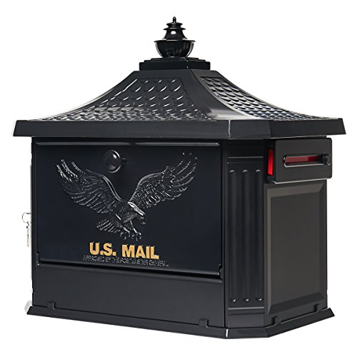 Gibraltar Mailboxes Hamilton Large Capacity Cast Aluminum Black, Post-Mount Mailbox, HM200B00