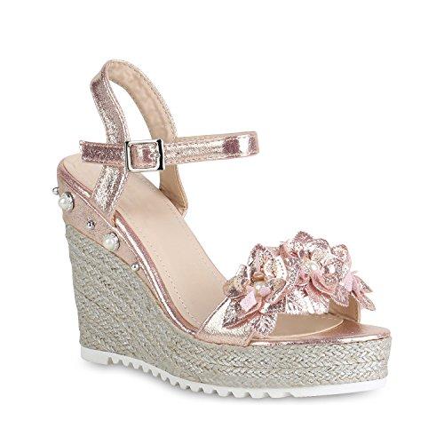 Stiefelparadies Damen Plateau Sandaletten Blumen Keilsandaletten Metallic Keilabsatz Schuhe Sommer High Heels Wedges Abiball Flandell Rose Gold