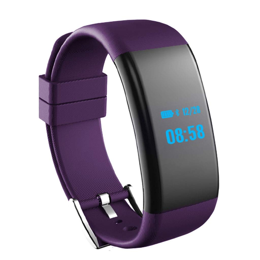 YangMi Sports Bracelet- Smart Sports Bracelet Multi-Function Heart Rate Blood Pressure Watch Unisex (Color : Purple)