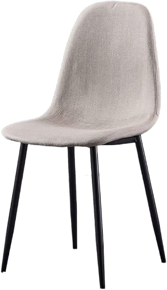 YB&GQ Set of 2 Dining Chair for Kitchen,mid Century Modern Eames Chairs with Back,Linen Fabric Upholstered Side Chair for Living Outdoor Creamy-White 44x39x84cm(17x15x33inch)