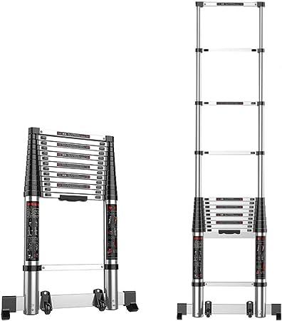 DZWSD Escaleras de Aluminio Espesado Escalera telescopica telescopica con Barra estabilizadora, Rueda Auxiliar Expansión Escalera Recta Capacidad máxima de Carga 150kg: Amazon.es: Hogar