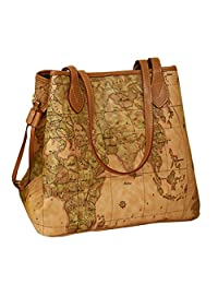 Donalworld Vintage Bucket Hobo World Map Revit Tote Faux Leather Shoulder Handbags
