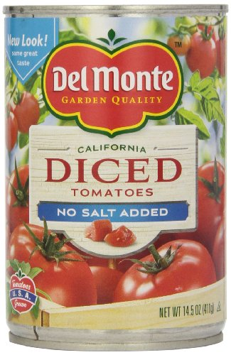 Del Monte Diced Tomatoes No Salt Added, 14.5-Ounce (Pack of 12)