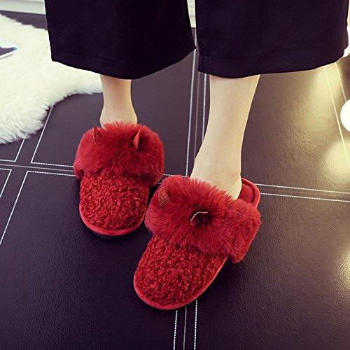 Miya Super Süß Damen Pantoffeln, Filzpantoffel, Plüsch Hausschuhe, Weiche Rutschfeste Slippers, Winter Plüschschuhe, warm und schön, Farbe Grau/weinrot/pink Weinrot