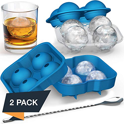 Ice Ball Mold with Stirring Spoon - Whiskey Ice Ball Maker for Husband - Includes Large and Small Sphere Ice Mold to Create Ice Balls - Round Ice Cube Mold, Ice Molds for Whiskey, Ball Ice Cube Mold (Ice Balls Round)