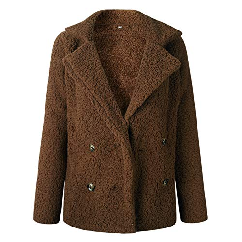 Petite Spandex Peacoat - ECOWISH Womens Double Breasted Lapel Open Front Fleece Coat with Pockets Outwear Red Coffee S