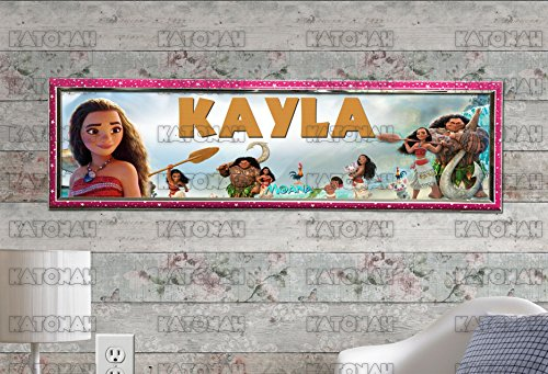 Customized Name Painting Moana Movie Poster With Your Name On It Personalized Banner With Hard - Frame Moana