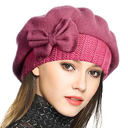Pink Womens Beret - VECRY Lady French Beret 100% Wool Beret Floral Dress Beanie Winter Hat (Bow-Pink)
