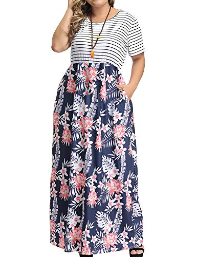 Allegrace Women's Plus Size Floral Print Striped Patchwork Maxi Dress Short Sleeve Long Dresses P53 White-Leaf Flower Dark Blue 2X