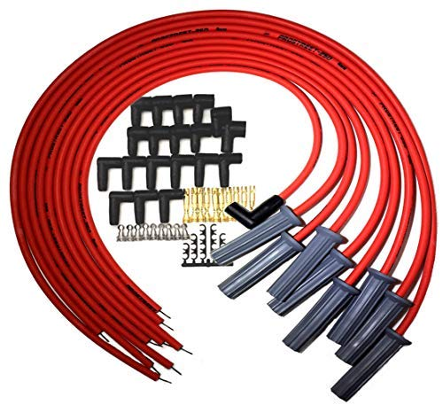 UPP - PROSTREET 250 - Red 8mm Silicone High Performance Racing Universal Spark Plug Wire Set - 250 ohm Wire Wound Core - 180 Degree Boots/Terminals Fits Chevy SBC BBC ()