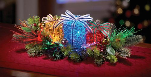 Lighted Gift Box Floral Christmas Centerpiece (Centerpieces Floral Holiday)