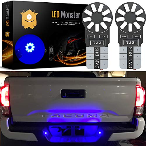 LED Monster 2-Pack Blue 18-SMD LED Light Bulb for License Plate Interior Map Dome Side Marker Light 194 168 2825 175 192 W5W T10 Wedge Super Bright High Power 3017 (Free Spirit Air Cleaner Cover)