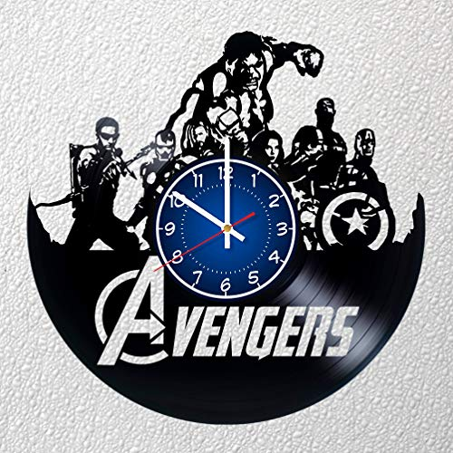 (MARVEL AVENGERS TEAM Art 12 inches/30 cm Vinyl Record Wall Clock | IRON MAN Fan Gift | Breaking Bad Clock | Children's Room Decor Idea MARVEL Home Art Party AVENGERS)
