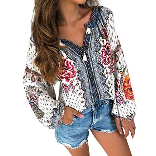 Londony♪ Women Long Sleeve V Neck Hollow Out Floral Print Shirt Tops Long Blouse Tee Boho Tops Tie Neck Embroidered (Blue, 3XL) -