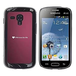 iBinBang / Funda Carcasa Cover Skin Case - Ubuntu amor por la vida del corazón Texto Wallpaper Purple - Samsung Galaxy S Duos S7562